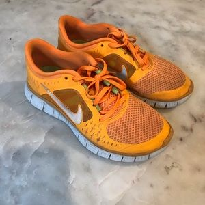 Neon Orange Nike Free Run 3.0 Running Shoe